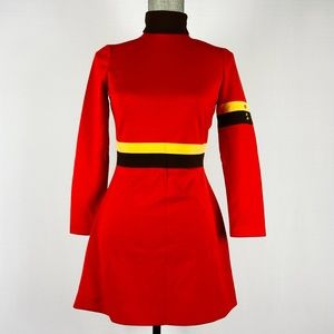 Vintage 1970s mini mod dress. Turtle neck long sleeve. Red brown yellow